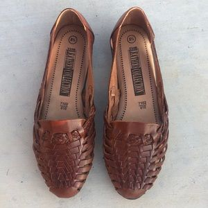 The Leather Collection Huarache Slip On Shoe Brown
